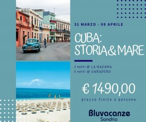 Offerta Cuba Marzo Euro 1490. Partenza 31 marzo 2019 da Milano Malpensa.